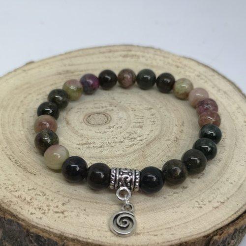 Bracelet femme en pierre naturelle, en tourmaline et breloque spirale