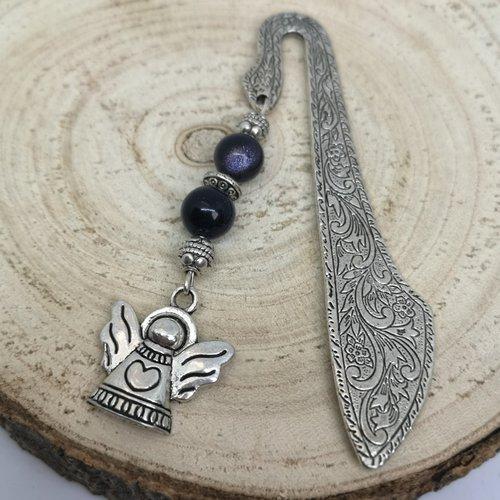Marque page argenté en pierre naturelle, breloque ange en obsidienne