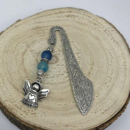 Marque page argenté en pierre naturelle, breloque ange en agate
