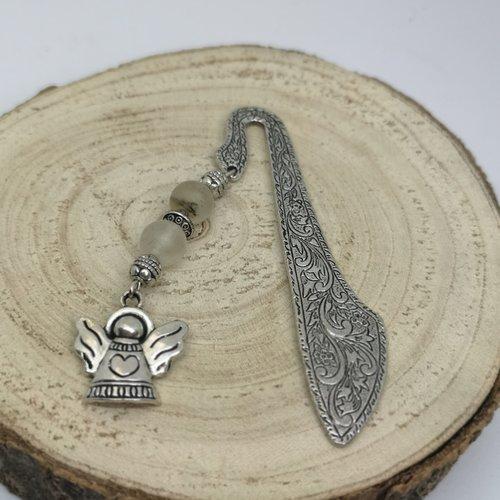 Marque page argenté en pierre naturelle, breloque ange en cristal de roche