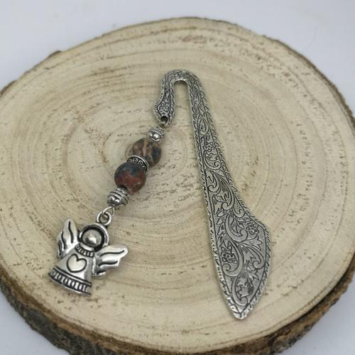 Marque page argenté en pierre naturelle, breloque ange en jaspe