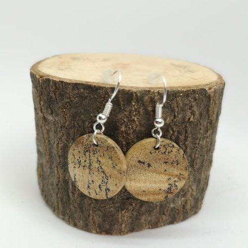 Boucles d'oreilles ronde en jaspe, pierre naturelle
