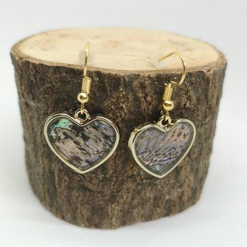 Boucles d'oreille acier doré, cœur en nacre abalone