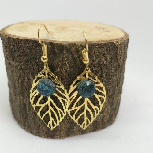 Boucles d'oreille feuille acier doré en lapis lazuli, pierre naturelle