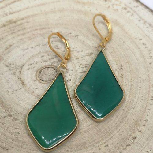 """Boucles d'oreille acier doré, goutte en pierre naturelle """"jade"""""""