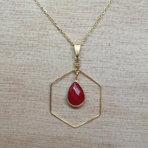 Collier losange acier doré et goutte en jade rouge, pierre naturelle