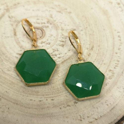 """Boucles d'oreille acier doré, hexagone en pierre naturelle """"jade"""""""