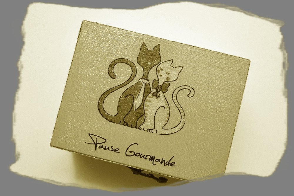 boite taupe chats amoureux,
