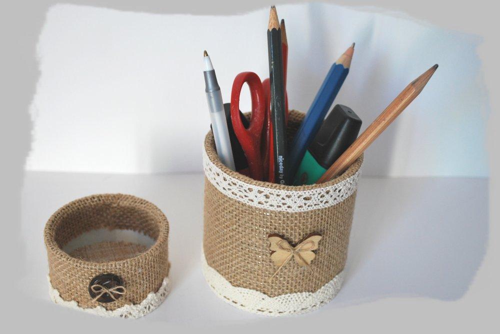 pots à crayons, métal et jute (lot n° 2)