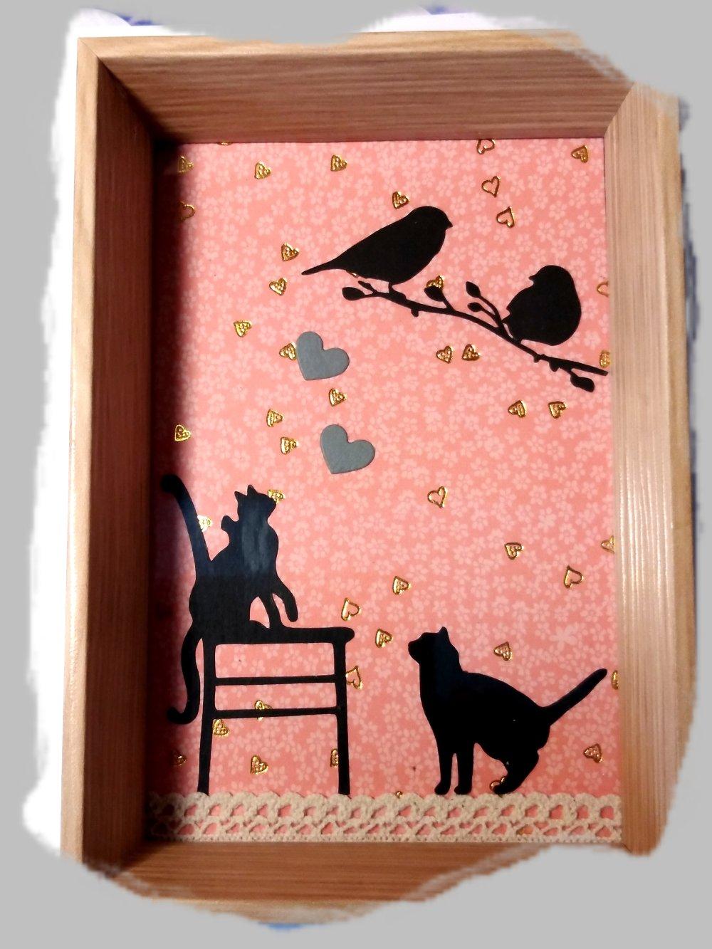 tableau bois naturel chats