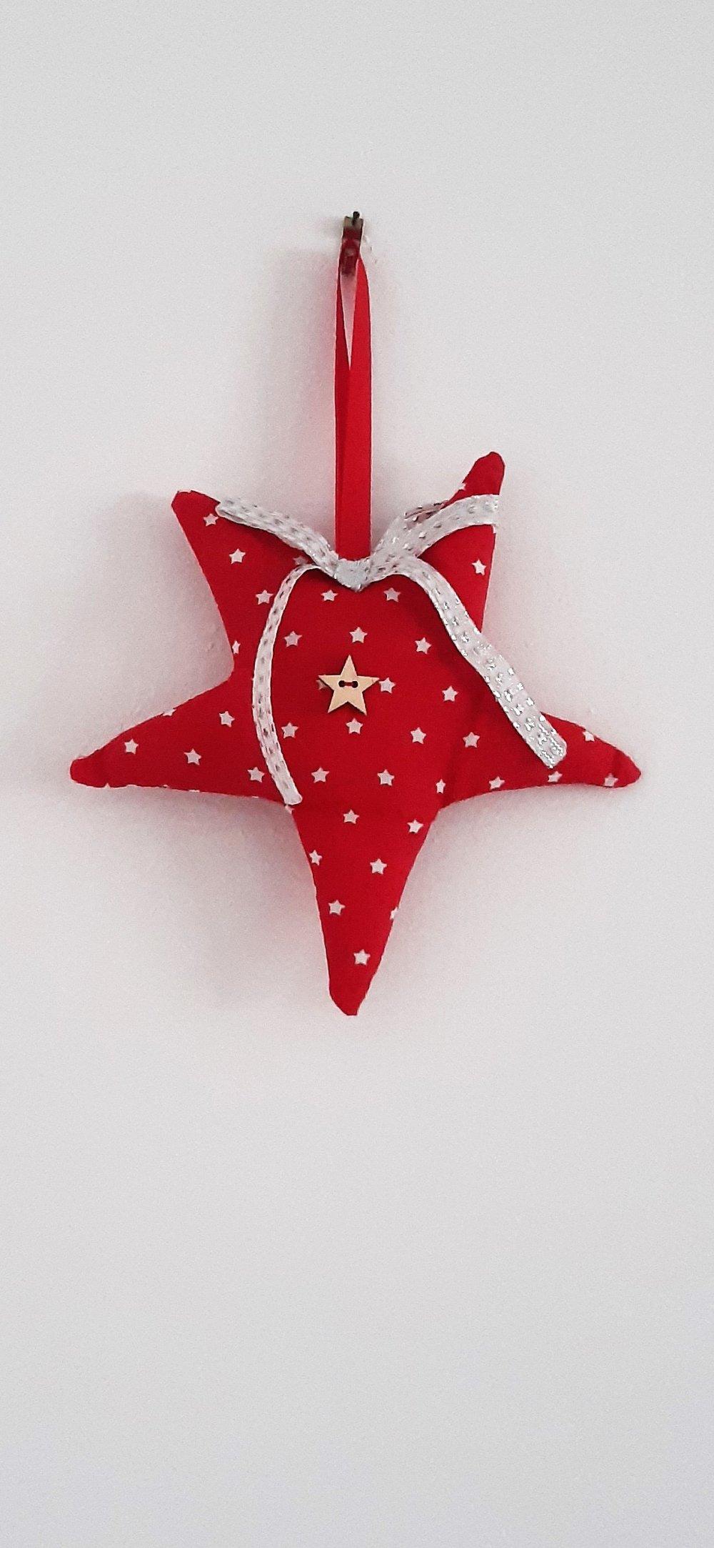 Étoile de Noël - tons rouge et blanc - avec ruban noué argenté