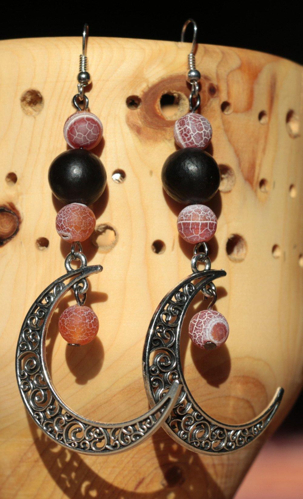 Boucles d'oreille en agate et graine, breloque lune