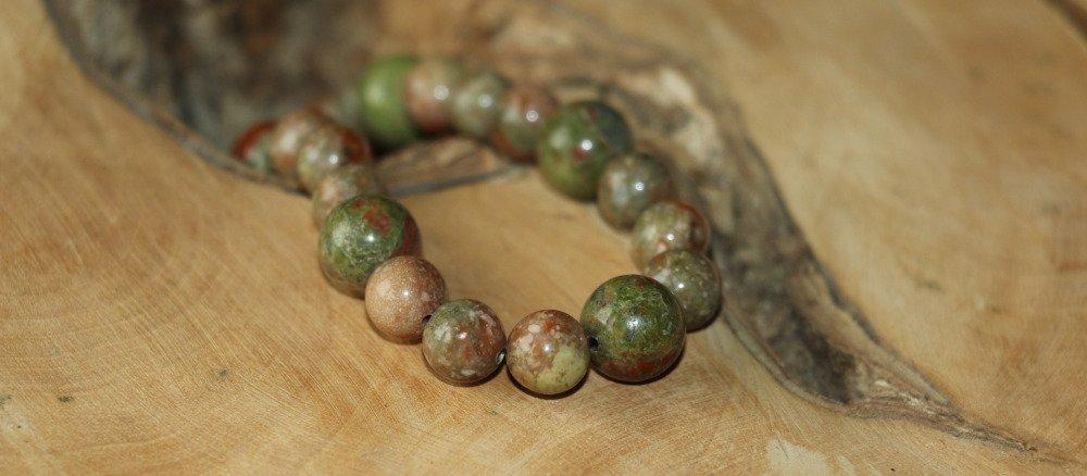 Bracelet en perles d'unakite