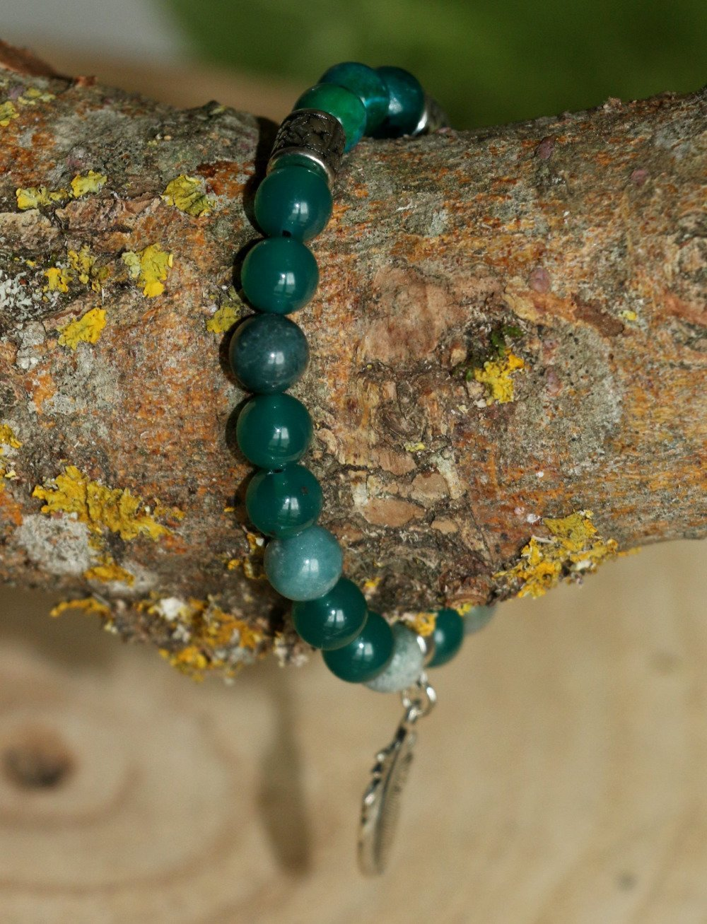 Bracelet agate verte et chrysocole - VENDU