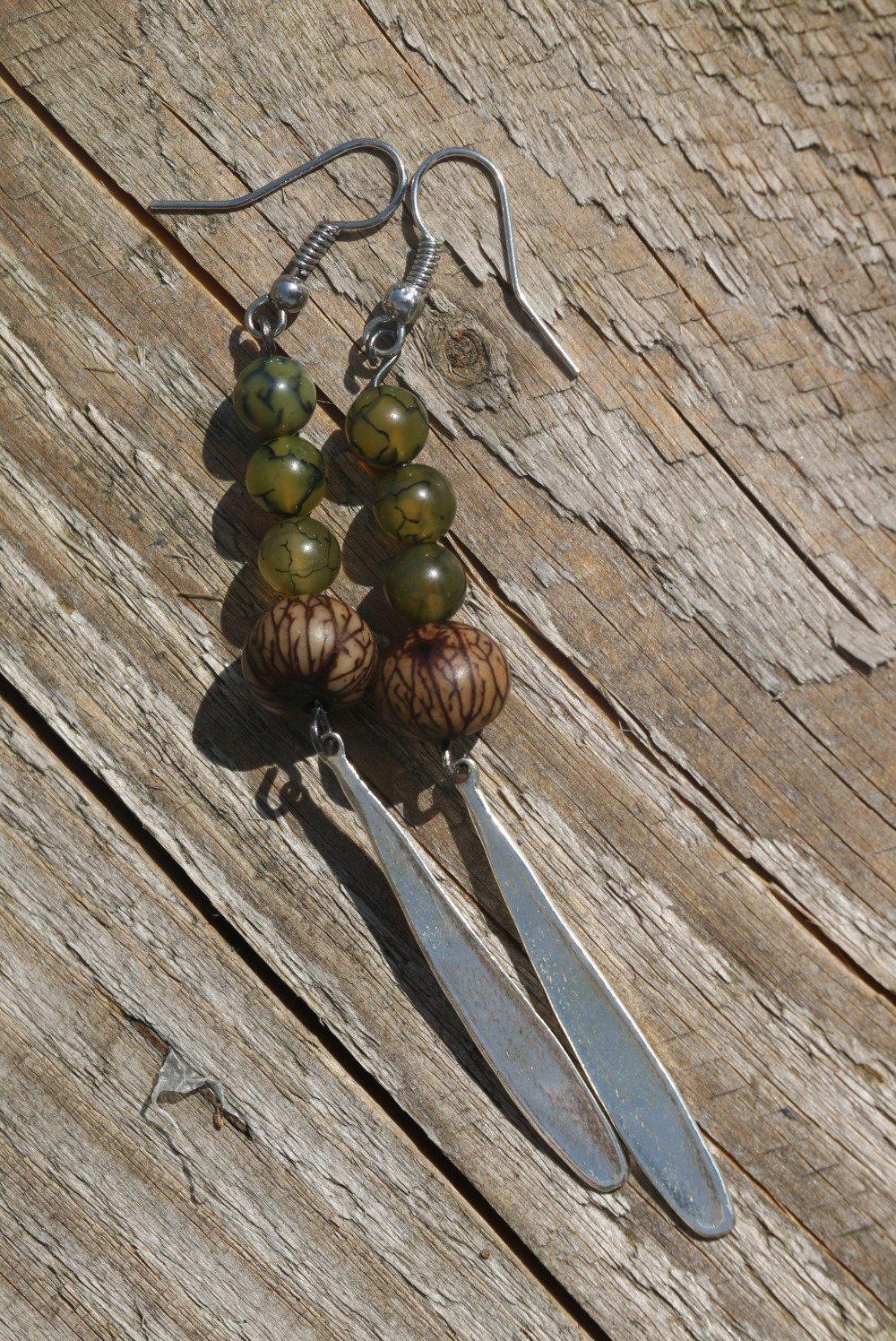 Boucles d'oreille agate dragon, graine de palmier, breloque goutte d'eau