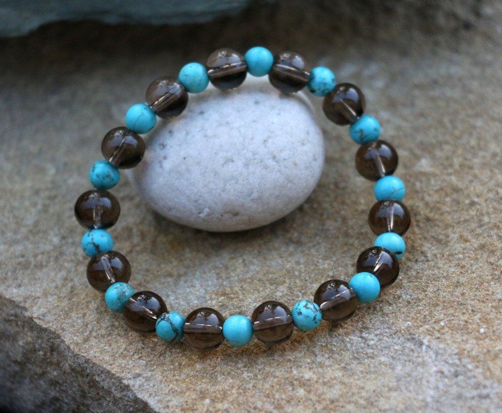 Bracelet turquoise et quartz fumé