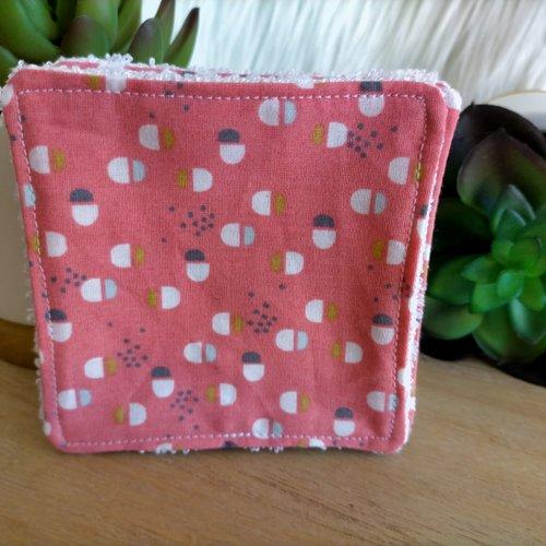 Lingettes / carrés de coton démaquillants en éponge de bambou , motif  design