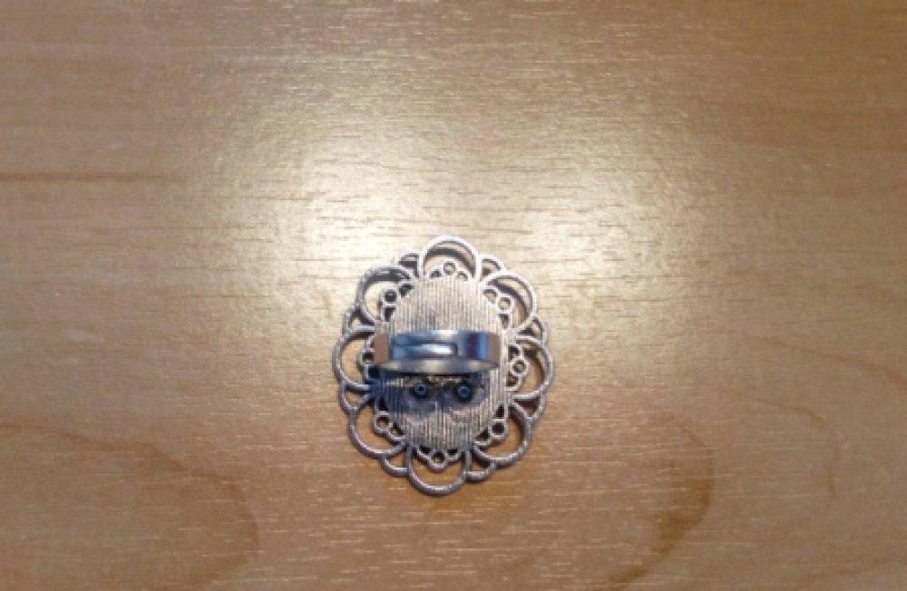 Bague ajustable support festonné argenté ovale , NACRE NORMANDE