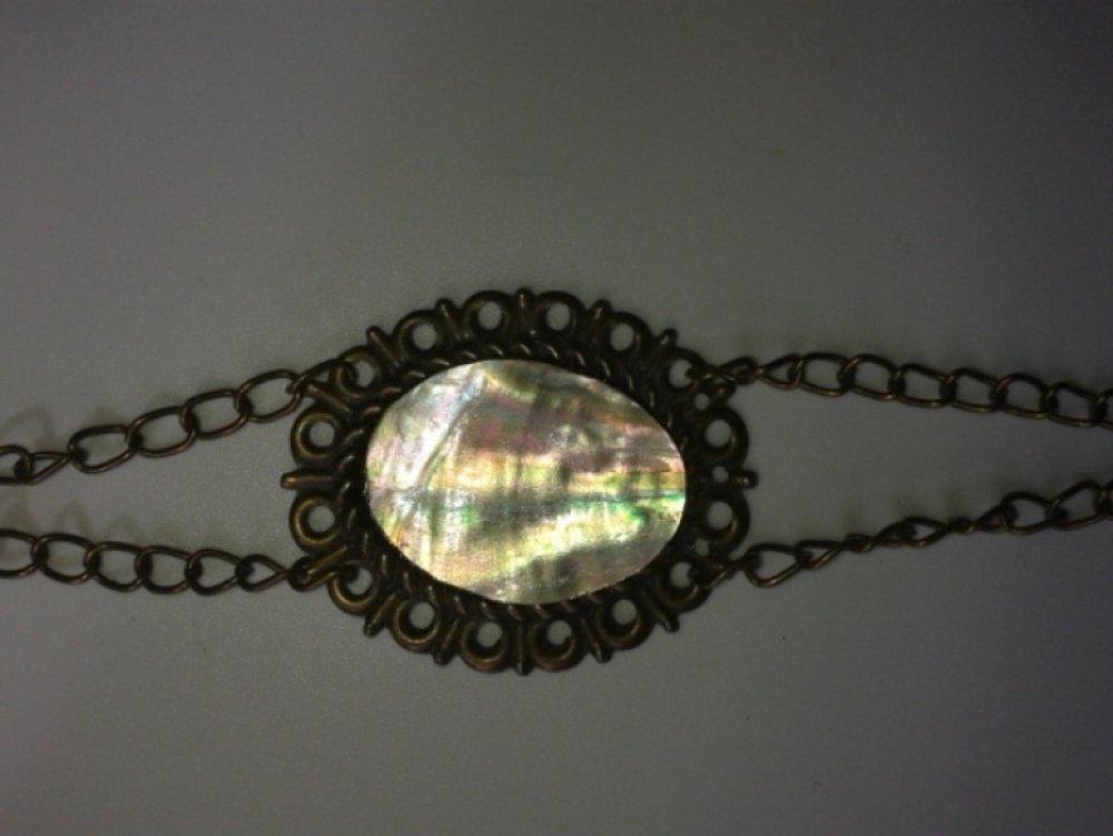 Bracelet NACRE sur support ovale couleur Bronze