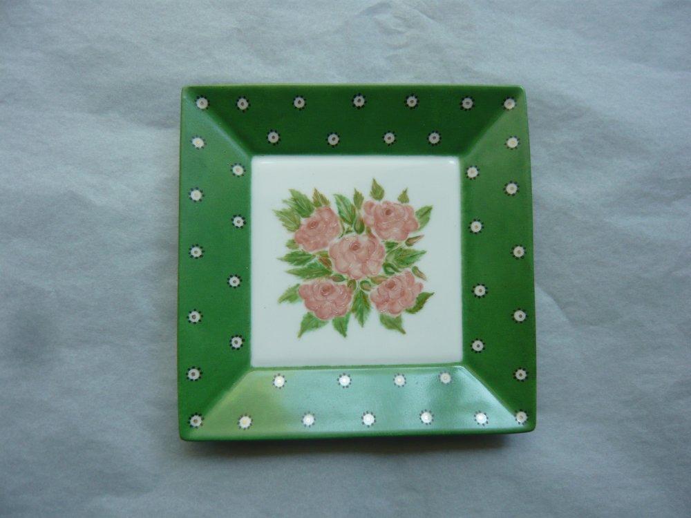 """Vide poche """"Roses et oeil de perdrix"""" en porcelaine peint à la main, modèle unique"""