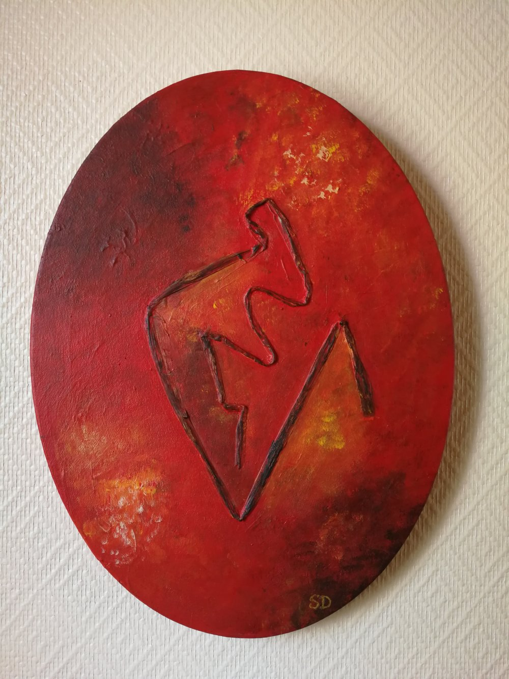 Tableau moderne, pièce unique sur fond rouge
