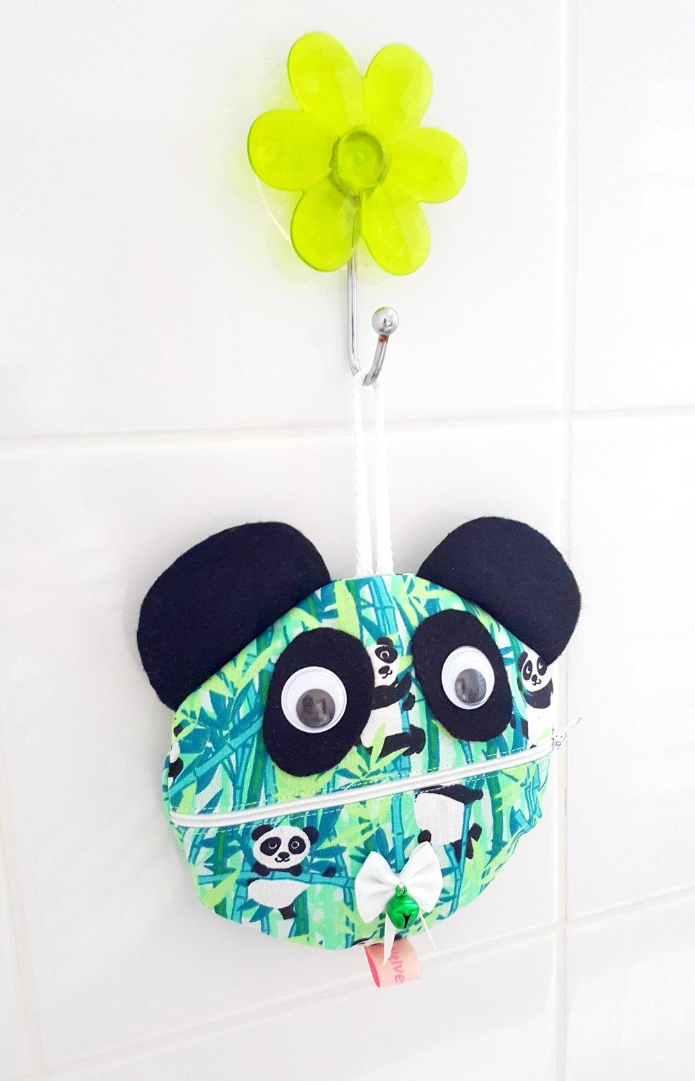 """Pochette Panda """"Jino"""" + 5 disques de lingettes démaquillantes lavables"""