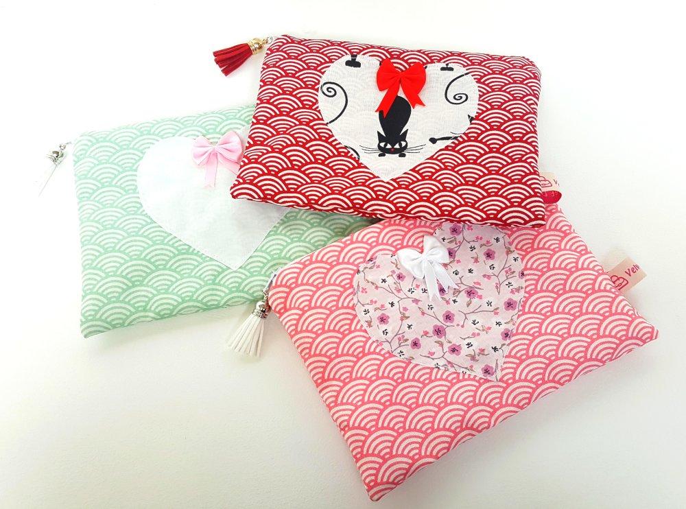 """Pochette asiatique/japonaise """"Moshi"""" 13 x 18 cm"""