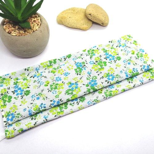 Masque de protection alternatif 2 couches tissu coton adulte taille unique motif petites fleurs liberty