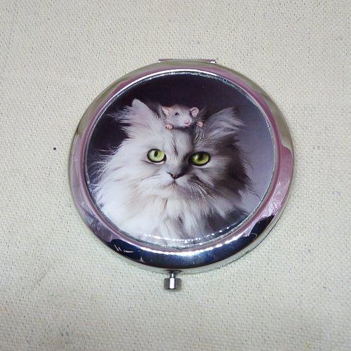 """Miroir de poche """"chat avec souris sur la tête"""""""