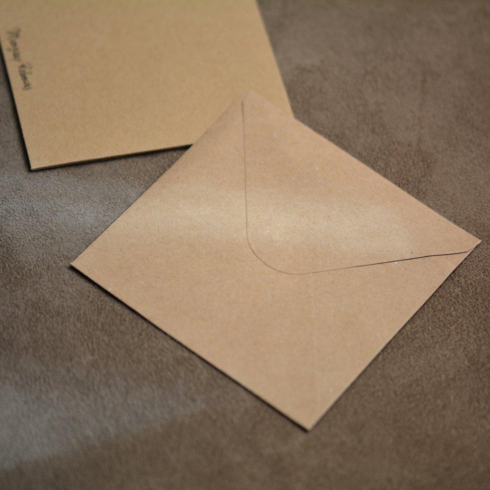 Carte postale et enveloppe - Feuille et gouttes d'eau