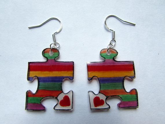 boucles d'oreilles puzzles colorés