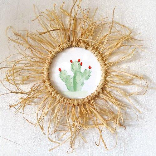 Aquarelle cactus encadrée cadre en raphia