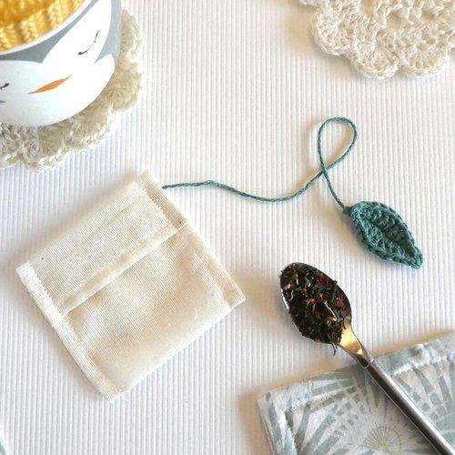Sachet de thé réutilisable - modèle feuille verte