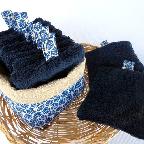 Set 10 lingettes lavables double face pour homme + panière – motif « riad bleu »