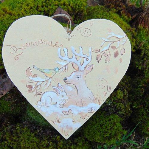 cœur bois  peuplier  bienvenue  hiver * animaux de la foret * cerf *lapins*oiseau mésange bleue
