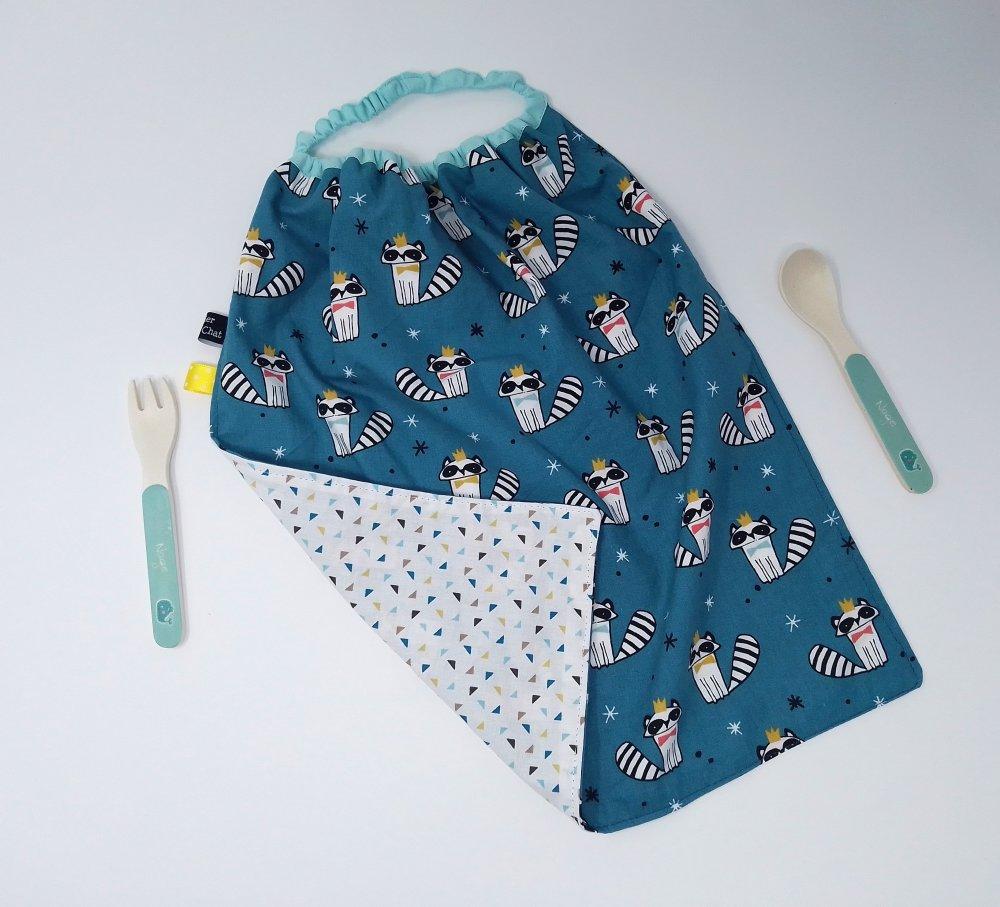 Serviette élastiquée ratons laveurs Oeko Tex / coton triangles