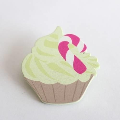Broche cupcake gateau gourmand en bois