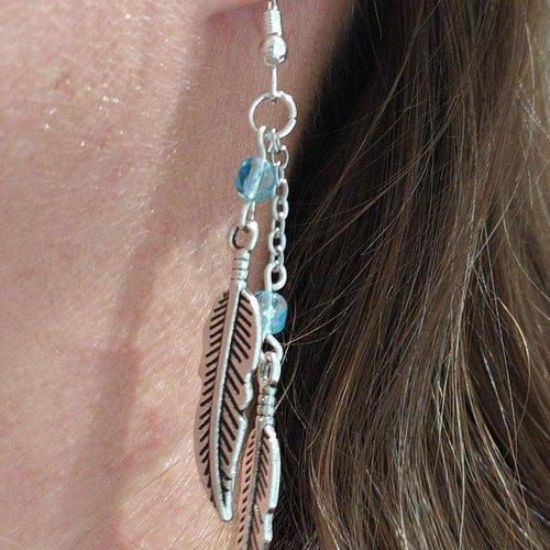 Boucles d'oreilles plumes argent tibétain perles turquoise