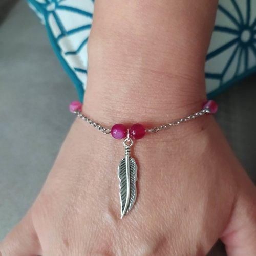 Bracelet plume argent et perles en agate framboise