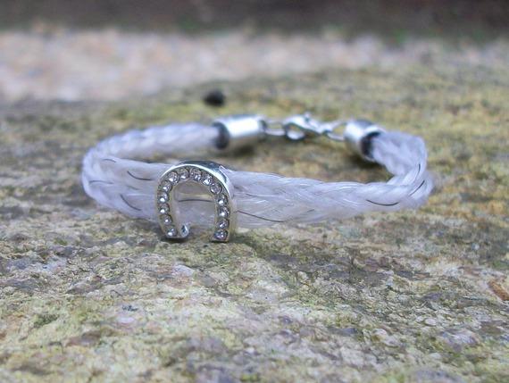 Bracelet en crin de cheval personnalisable, double tresse simple
