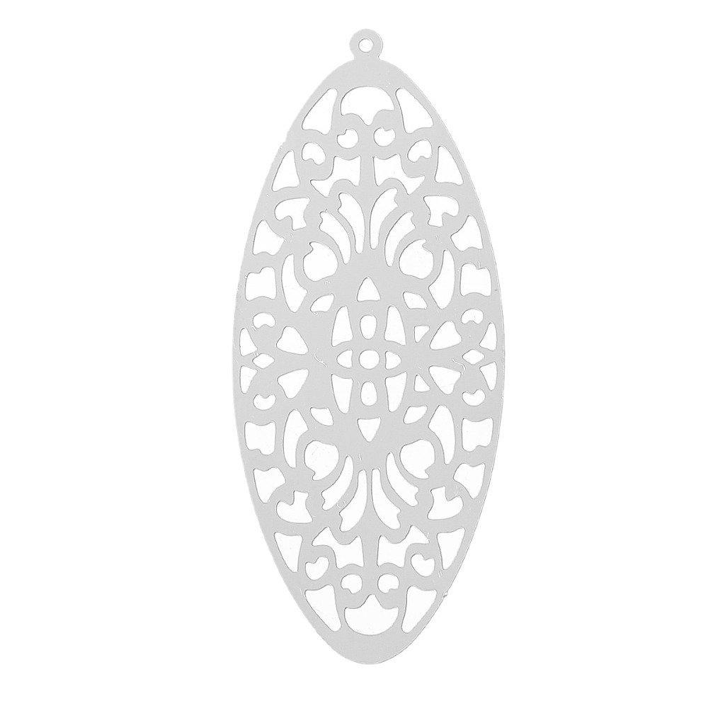 Pendentifs Estampe Fleurs Acier Inoxydable Argent Mat 49mm x 21mm