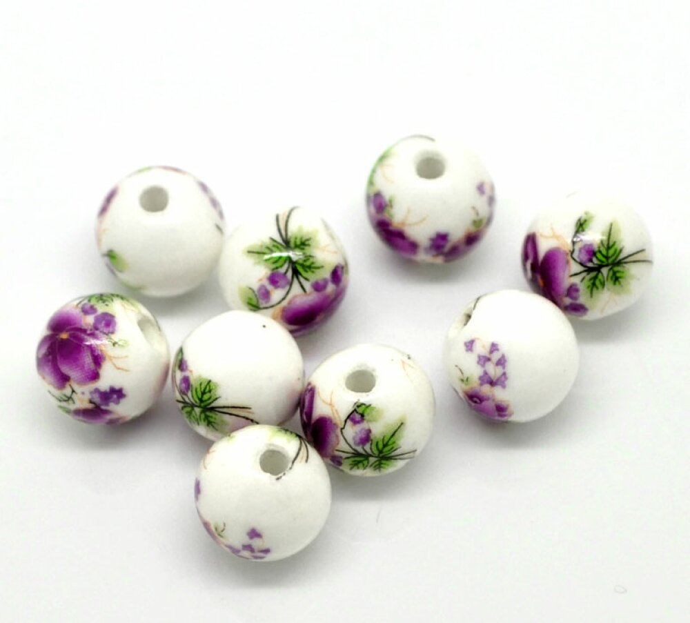 2 Perles Céramique Blanc Fleur 12mm