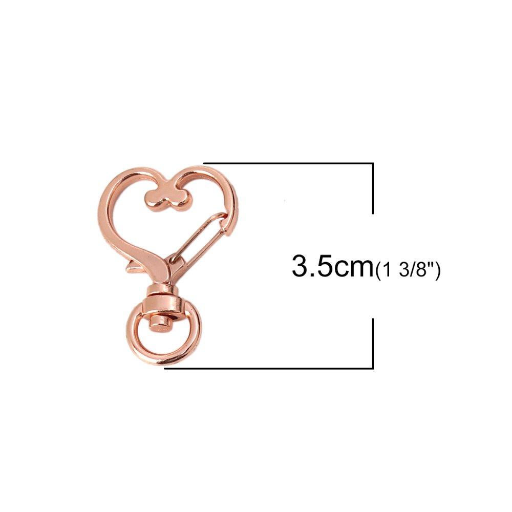 Porte-Clés Cœur Or Rose 35 x 24mm