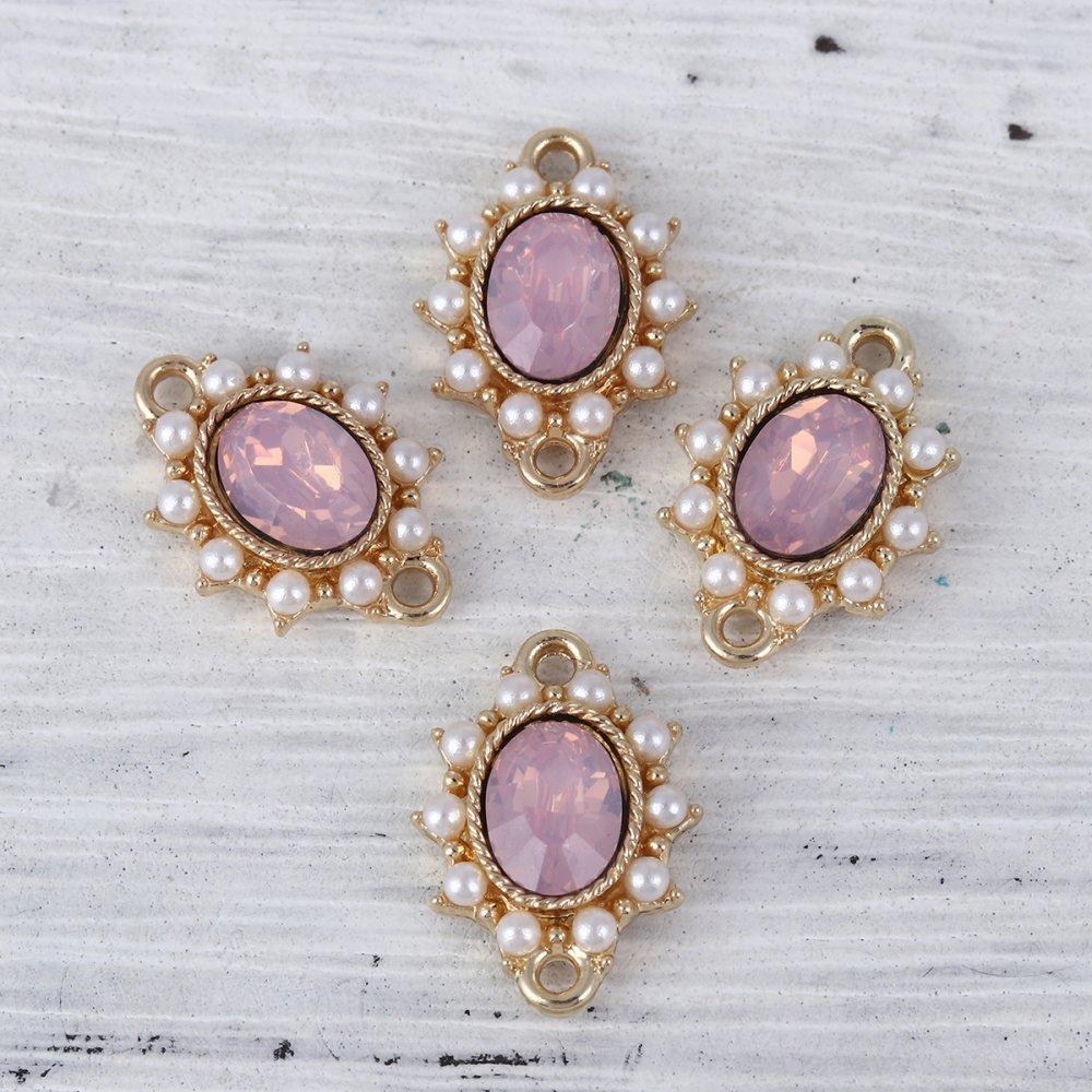 Connecteurs Blanc Doré Perles à Strass Rose 17mm x 13mm