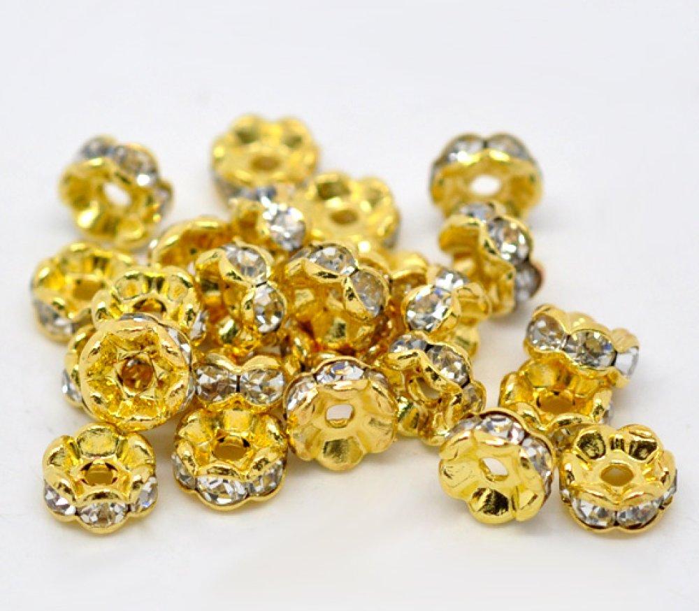 10 Perle Rondelle Strass Rond doré à Strass Transparent 5mm