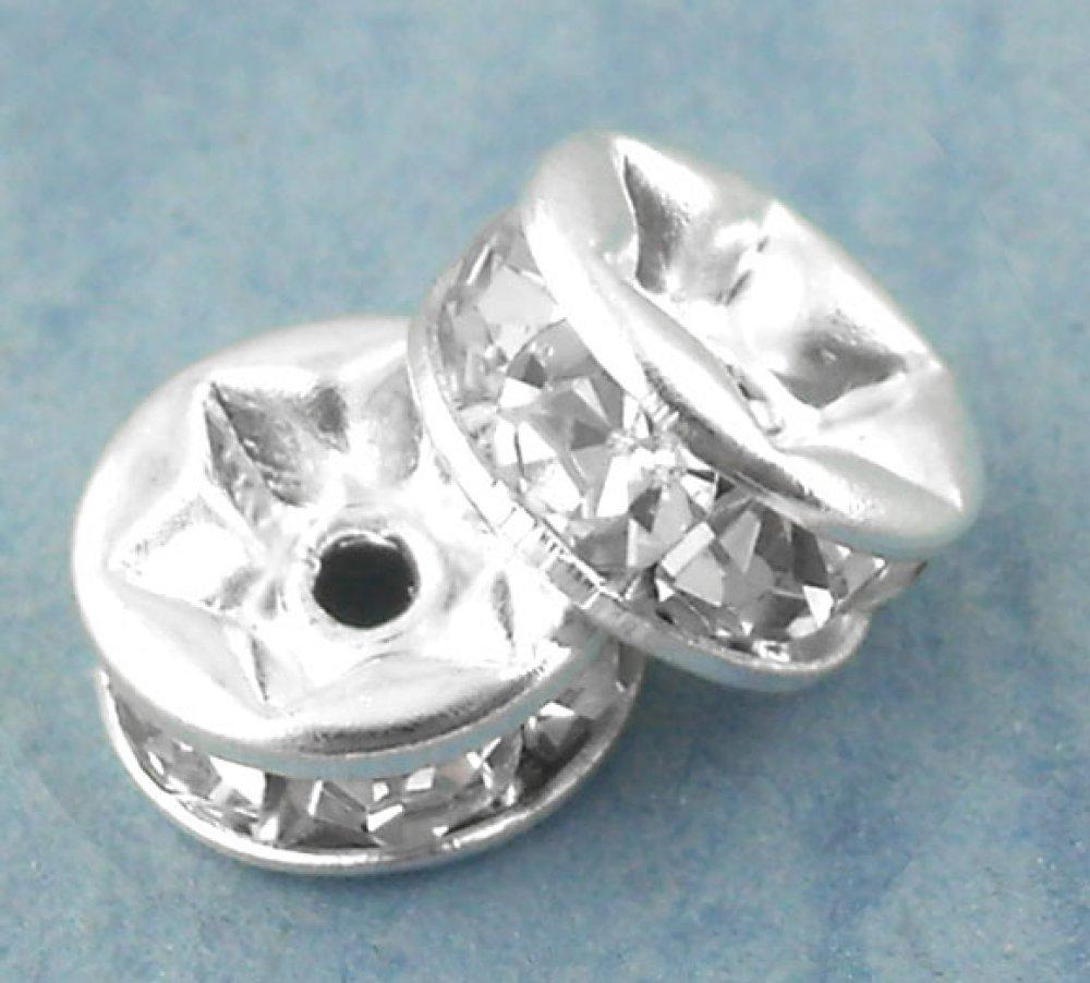 5 Perle Rondelle Strass Rond argent à Strass Transparent 6mm