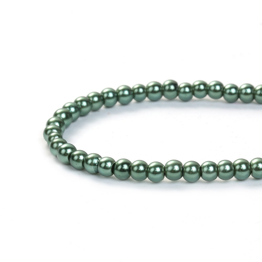 10 Perles en Verre vert foncé Imitation Perles 4mm