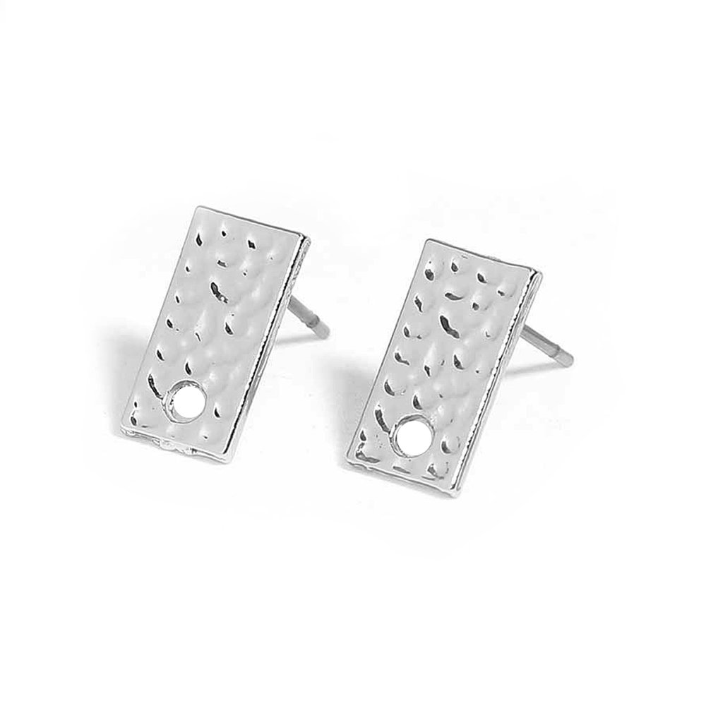 2  Boucles d'Oreilles Rectangle  Argent Mat 12mm