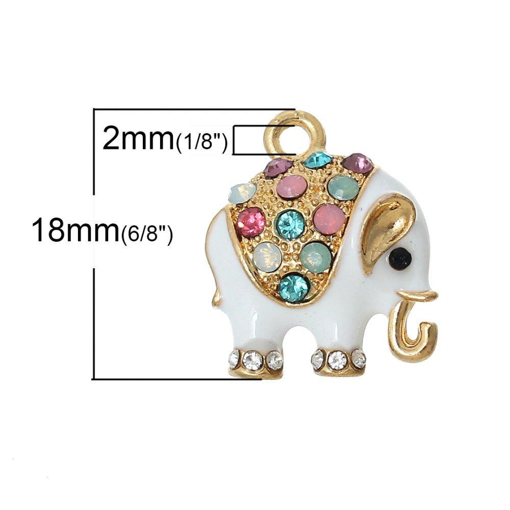 Pendentif Eléphant Doré Blanc à Strass Coloré 18 x 15mm