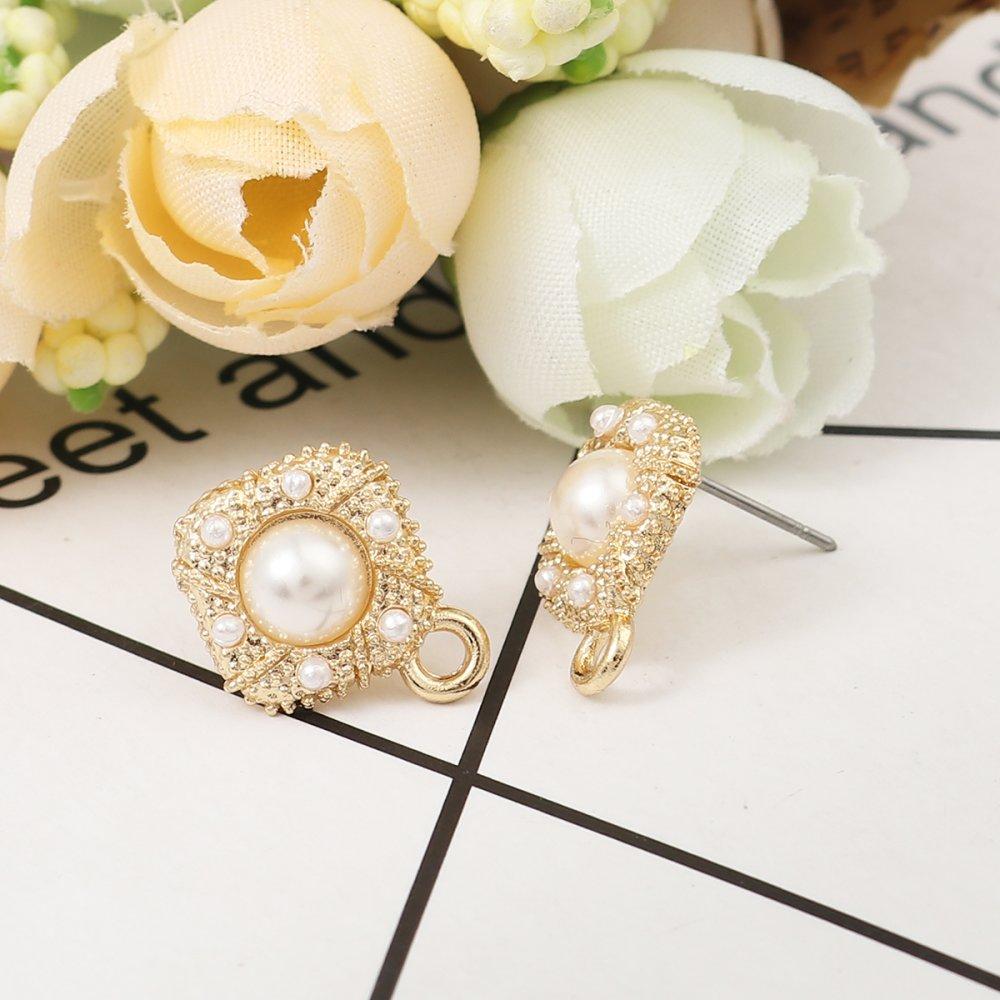 Boucles d'Oreilles Puces Blanc Doré Perle Imitation 16 x 13mm